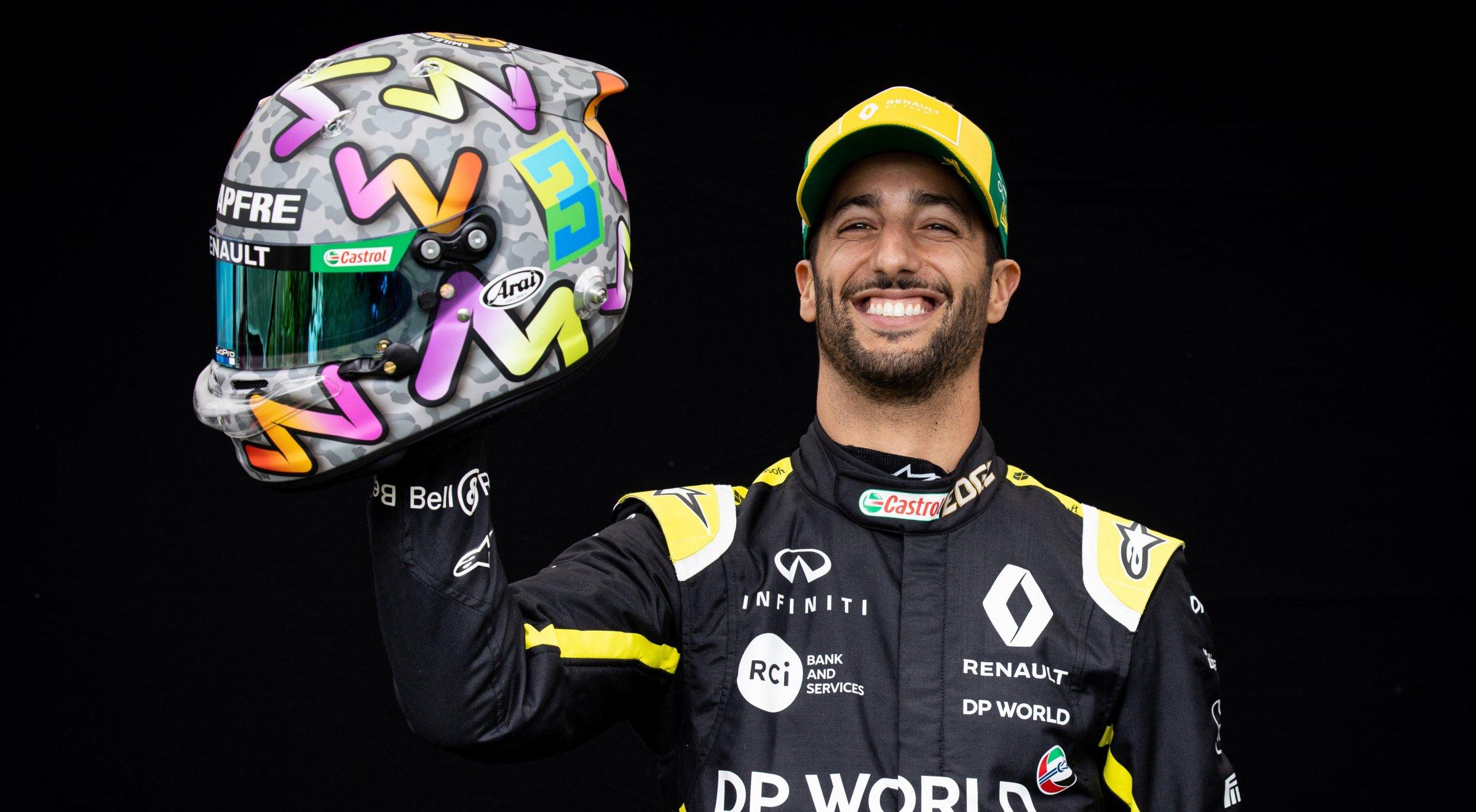 D. Ricciardo ir jo naujasis šalmas