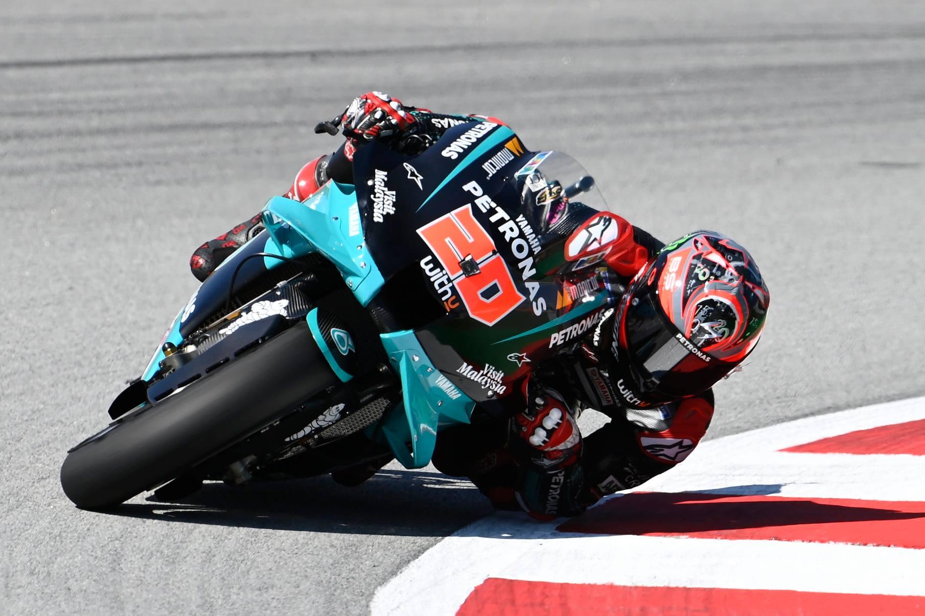 """<span style=""""background:#d5002c; color:white; padding: 0 2px"""">MotoGP</span> Po pertraukos Barselonoje pergalę iškovojo F. Quartararo"""