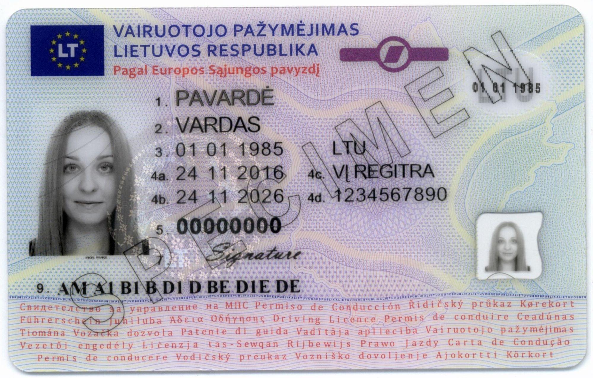 Vairuotojo pažymėjimo kodai